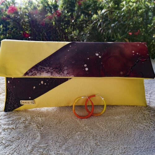 Fabric Clutch bag with matching covered hoop earrings