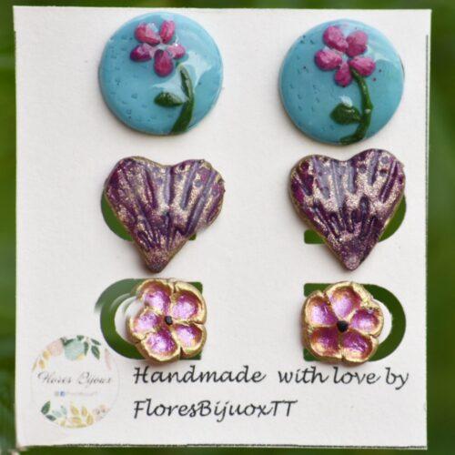 Stud Earrings Floral Love