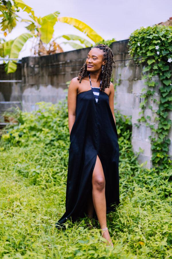 Batik Inset Dress Black